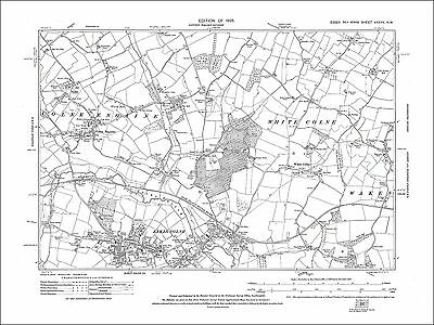 Old map Colne Engaine, Earls Colne, White Colne, Essex 1925 (27NW)