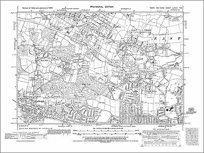Old map Hadleigh, Eastwood, Southend(N), Rayleigh (S), Essex 1938 (82SE)