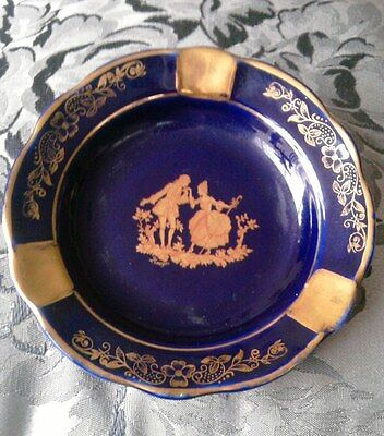 CLASSIC LIMOGES COLBALT BLUE & GOLD ASH TRAY OF COURTING COUPLE BY 'FAYE & FILS