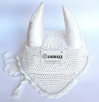 Ear Net Crochet Fly Veil Equestrian Horse White With Crystals Full Cob Pony