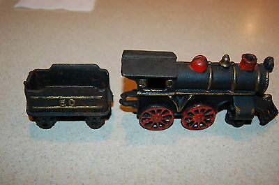 nice cast iron black train locomotive  and tender reproduction