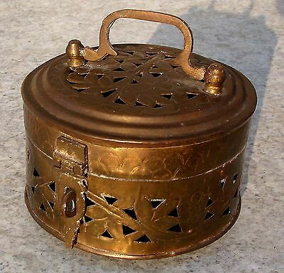 Antique Vintage Ornate Round Hammered Brass Cricket Cage Footed Trinket Box Vine