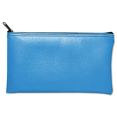 MMF Industries Blue Leatherette Zippered Bank Deposit, Wallet, Coin Purse