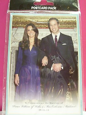 ROYAL WEDDING COMMEMORATIVE POSTCARD PACK, PRINCE WILLIAM & KATE, 5 CARDS NIP