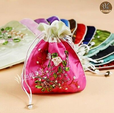 WHOLESALE 10PCS CHINESE HANDMADE EMBROIDERED Silk GIFT DRAWSTRING BAGS POUCHES
