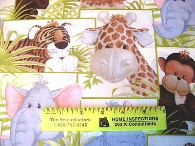 JUNGLE  BABIES - Animals in SQUARES  LIGHTER  COLORS  Fabric Match  By Yard