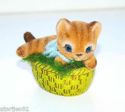 made in Japan collectible fuzzy furry cat figurine pottery ceramic kitten basket