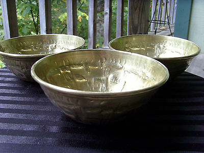 TURKISH/OTTOMAN/ANATOLIAN SET OF THREE (3) BRASS BOWLS, RAISED 3-D ETHNIC DESIGN