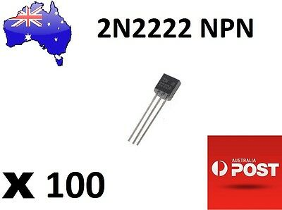 100Pcs NPN Transistor TO-92 2N2222 (Arduino/PIC) AU Stock Fast Deliverry
