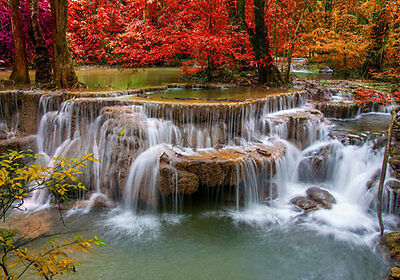 Autumn Waterfalls Red Leaves 3D Full Wall Mural Photo Wallpaper Home Decal Kids