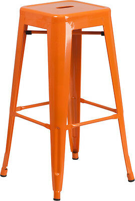 Flash Furniture 30'' High Backless Orange Metal Indoor-Outdoor Barstool with...