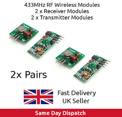 2x 433MHz RF Transmitter & Receiver pair wireless kit for PIC Arduino Pi UK FAST