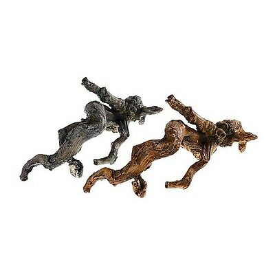 Set of 2 Mini Driftwood Branches Aquarium Terrarium Ornament Brown & Silver Wood