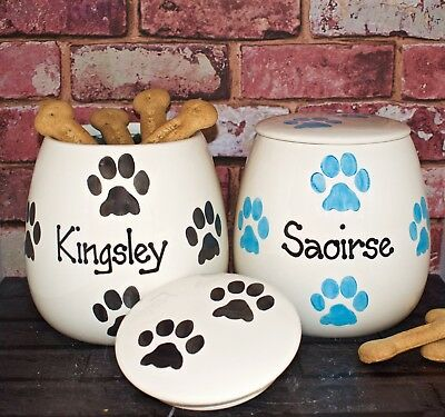 Large Personalised Hand Painted Ceramic Paw Print Dog puppy Treat jar 12 colours