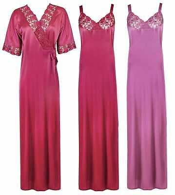 5e2f797f81 Ladies Long Satin Floral Lace Dressing Gown Womens Nightwear Plus Size 14-18
