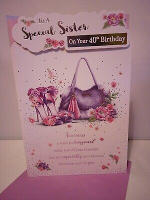 9 X 6 INCH B8 SISTER  IN LAW BIRTHDAY CARD,WOMAN SHOPPING,FLOWERS,LOVELY VERSE