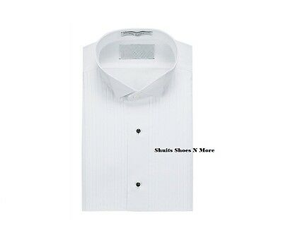 New Mens White Tuxedo Shirt Wing Comfort Collar Pleated  Wedding All Sizes