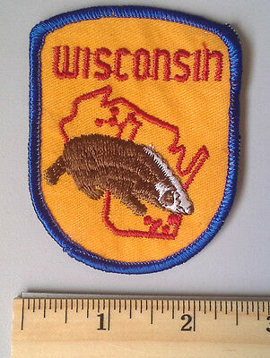 WISCONSIN WI US State Vintage Souvenir Travel Patch Badger RARE