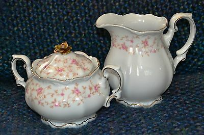 VINTAGE MITTERTEICH,LADY CLAIRE,GERMANY,BAVARIA CHINA, CREAMER AND SUGAR BOWL