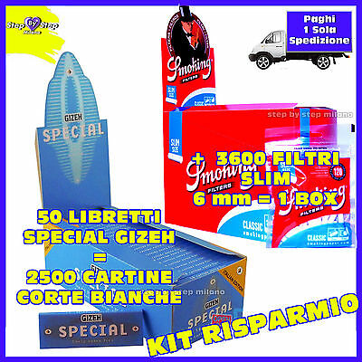2500 Cartine GIZEH special CORTE Bianche + 3600 FILTRI SMOKING SLIM 6 mm