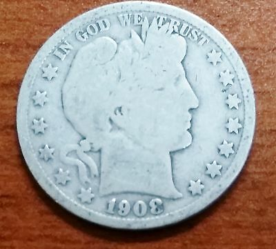 1908-S US Barber Half Dollar 90% Silver Bullion Coin Semi-Key Date