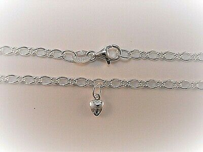 NEW Genuine Solid 925 Sterling Silver Oval Figaro Anklet With A Heart Charm