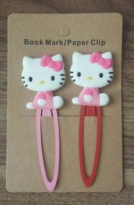 2 pcs Hello kitty Die cut Bookmarks Stationery reading Clips paper clips ABL