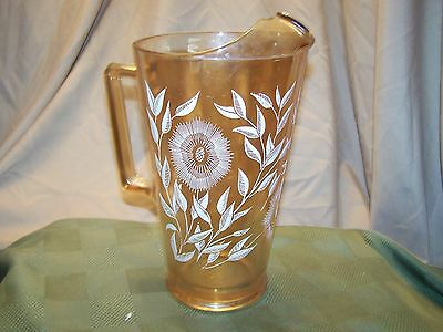 Vintage Jeannette Glass Cosmos Pitcher Flowers on Peach Luster Carnival