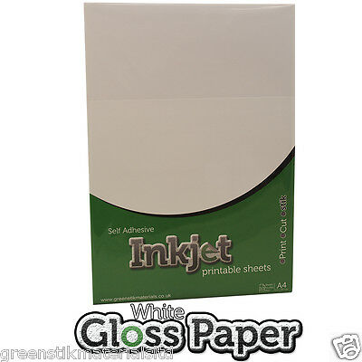 10 x A4 Self Adhesive Inkjet Printable Gloss White Paper Sticker Sheets Ink Jet