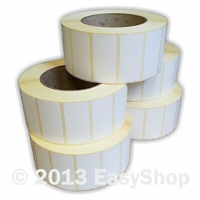 50mm x 25mm White Self Adhesive Ribbon Printer Labels 1000 Per Roll 76mm Core