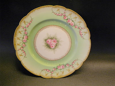 ANTIQUE HAND PAINTED PINK ROSES GILDED D & C LIMOGES . FRANCE SIGNED 8.5'' PLATE