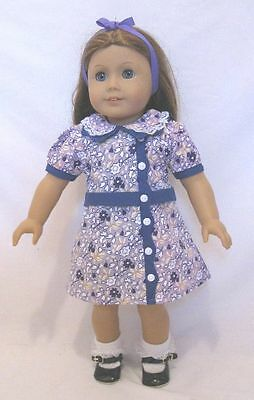 """Doll Clothes 18"""" Doll Dress Floral Made To Fit American Girl Doll Ruthie 1930"""