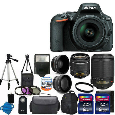 NEW Nikon D5500 Digital SLR Camera +4 Lens 18-55mm VR 55-200 + 32GB Complete Kit