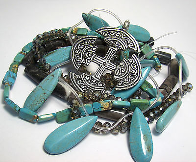 JEWELRY MAKING SUPPLIES~SILVER CROSS PENDANT~MARBLE~GREY CRYSTAL~TURQUOISE BEADS