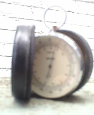 rare chrome POCKET ANEROID bevelled glass BAROMETER ALTIMETER LUFFT GERMAN case