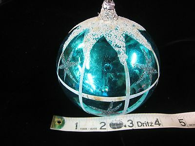 "VTG Mercury Glass Mica Glitter  Ball Christmas Ornament W Germany 4"" Teal/Blue"