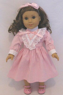 "Doll Clothes 18"" Doll Victorian Pink Dress Fits American Girl Doll Rebecca"