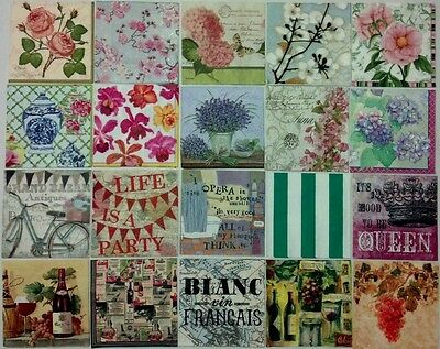 20 decoupage paper napkins 3-ply beverage size  ***Beautiful assorted designs***