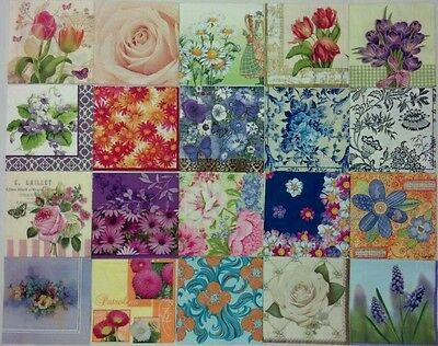 20 paper napkins for decoupage & crafts cocktail size 3-ply **FLORAL DESIGNS 2**