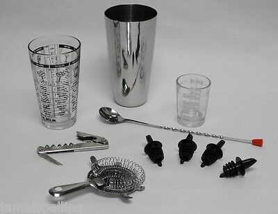 10 pc. PROFESSIONAL BARTENDER COCKTAIL MIXING SET Bar Tools & Accessories Kit