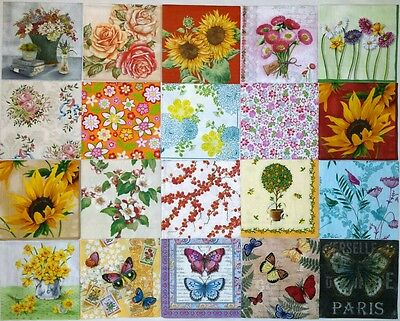 20 paper napkins for decoupage & crafts cocktail size 3-ply **FLORAL DESIGNS 3**