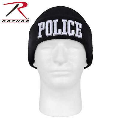 cd43afd245b Police Watch cap winter hat embroidery black acrylic knit beanie Rothco 5449