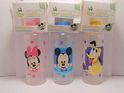 Bottle Disney MICKEY MINNIE MOUSE PLUTO - Blue Pink Yellow - 9 oz. Baby Feeding