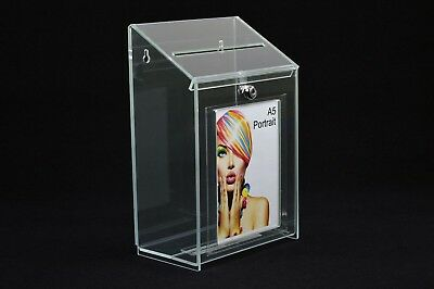Collection Suggestion Box - Clear Acrylic - Lockable - PDS9463 Clear