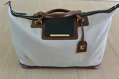 NWOT Vince Camuto Signature Linen and Leather Duffle Bag