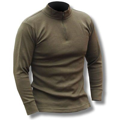 Italian Army Zipped Green Thermal Shirt Norgie Style Long Sleeve Base Layer Top