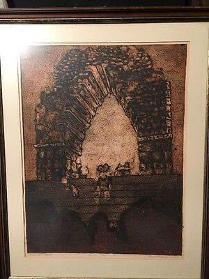 MID CENTURY LOREN JANZEN Signed ABSTRACT ARCH AT KABAH