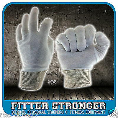 Boxing White Cotton Inners Sweat liners hygiene wrist cuff washable new pair M L