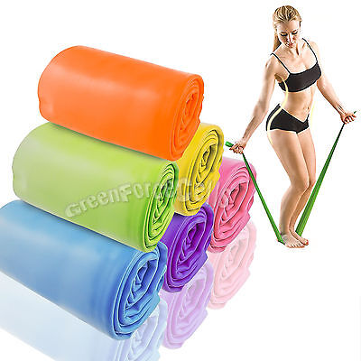 1.5M Yoga Pilates Rubber Stretch Resistance Exercise Fitness Band Practice LOT
