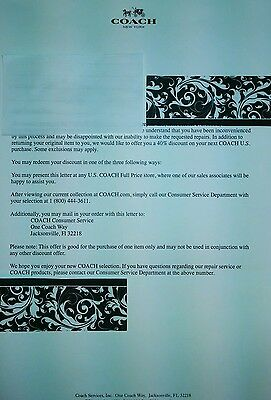 COACH Department stores nationwide 40% Off Discount Letter Coupon Offer